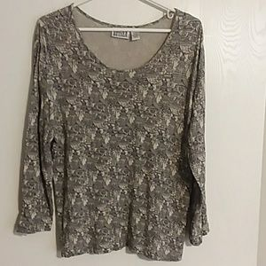 Chico's Asian Design Long Sleeved Knit Top